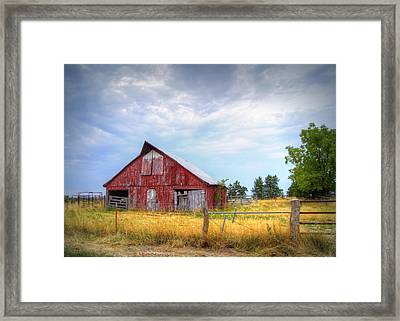 Christian School Road Barn Framed Print by Cricket Hackmann