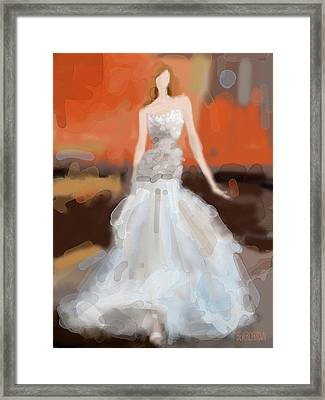 Christian Siriano Grey Dress Fashion Illustration Framed Print by Beverly Brown