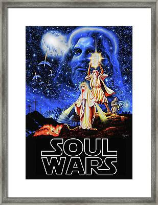 Framed Print featuring the painting Christian Star Wars Parody - Soul Wars by Dave Luebbert