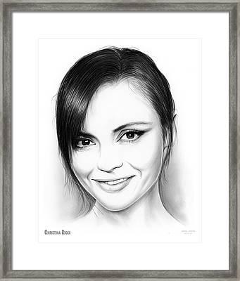 Christina Ricci Framed Print by Greg Joens
