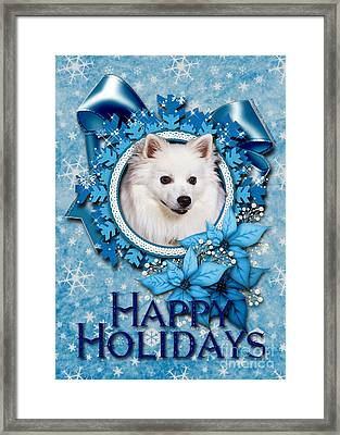 Christmas - Blue Snowflakes American Eskimo Framed Print by Renae Laughner