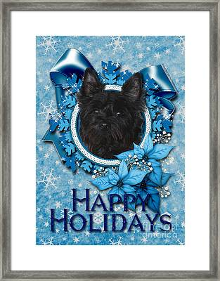 Christmas - Blue Snowflakes Cairn Terrier Framed Print by Renae Laughner