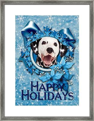 Christmas - Blue Snowflakes Dalmatian Framed Print by Renae Crevalle