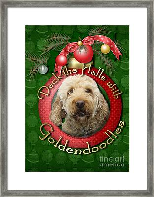 Christmas - Deck The Halls With Goldendoodles Framed Print by Renae Laughner