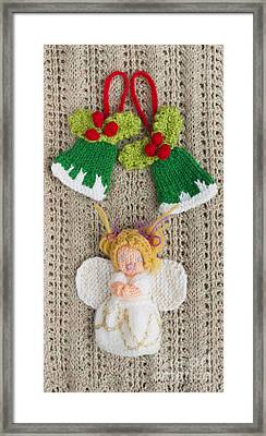 Christmas Angel Knitted Decoration Framed Print by Ewa Hearfield