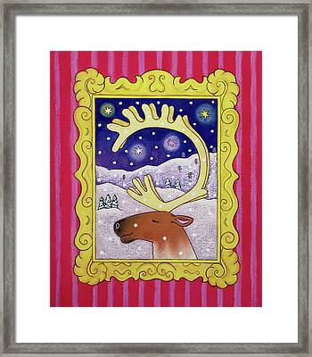 Christmas Antlers Framed Print by Cathy Baxter