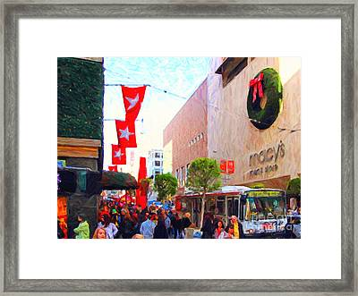 Christmas At Macys In San Francisco . Photoart Framed Print by Wingsdomain Art and Photography