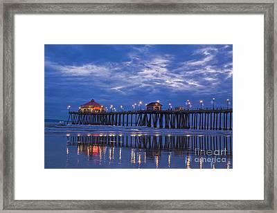 Christmas At The Huntington Beach Pier Framed Print