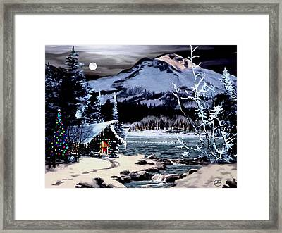Christmas At The Lake V2 Framed Print