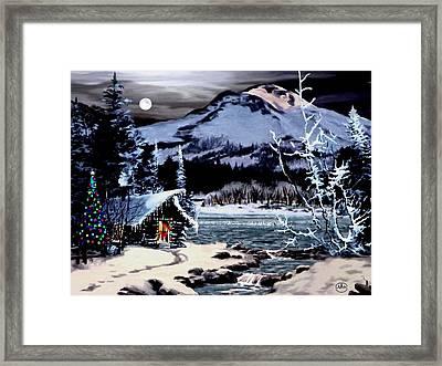 Christmas At The Lake V2 Framed Print