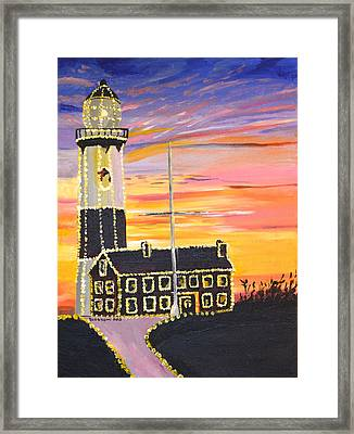 Christmas At The Lighthouse Framed Print by Donna Blossom
