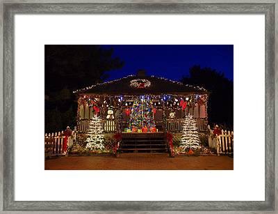 Christmas At The Lighthouse Gazebo Framed Print