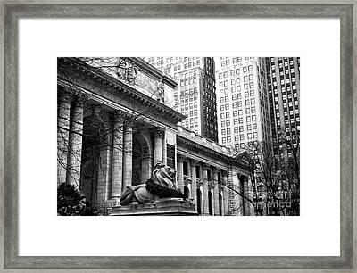 Christmas At The New York Public Library Framed Print by John Rizzuto