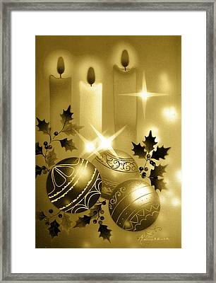 Christmas Balls And Candles Black And Gold Framed Print