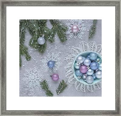 Framed Print featuring the photograph Christmas Baubles And Snowflakes by Kim Hojnacki