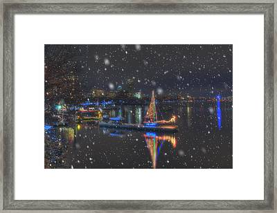 Christmas Boat On The Charles River - Boston Framed Print by Joann Vitali