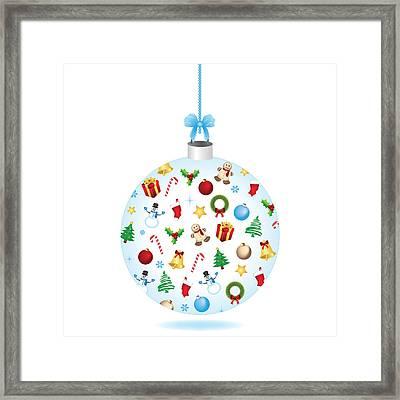 Christmas Bulb Art And Greeting Card Framed Print