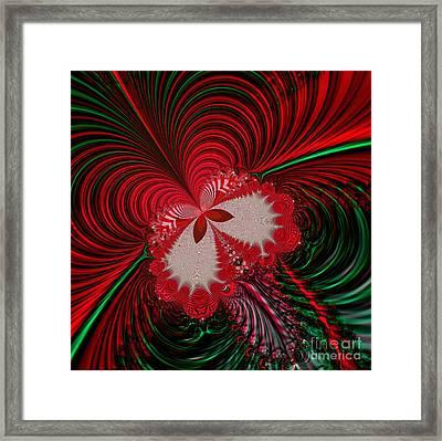 Christmas Butterfly Fractal 63 Framed Print by Rose Santuci-Sofranko