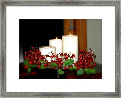 Christmas Candles Framed Print by Kathy Gibbons