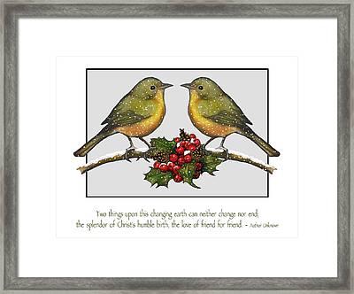 Christmas Card Birds And Friendship Framed Print by Joyce Geleynse