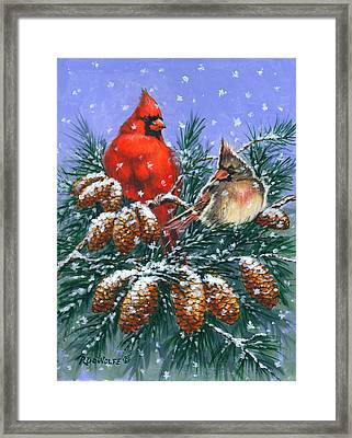 Christmas Cardinals #1 Framed Print by Richard De Wolfe