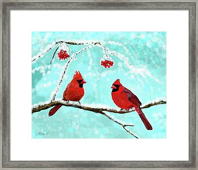 Framed Print featuring the painting Christmas Cardinals by Leslie Allen