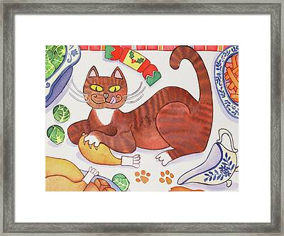 Christmas Cat And The Turkey Framed Print