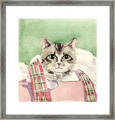 Christmas Cat Framed Print by Arline Wagner