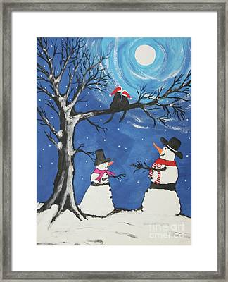 Christmas Cats In Love Framed Print
