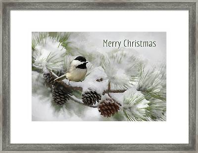 Framed Print featuring the photograph Christmas Chickadee by Lori Deiter