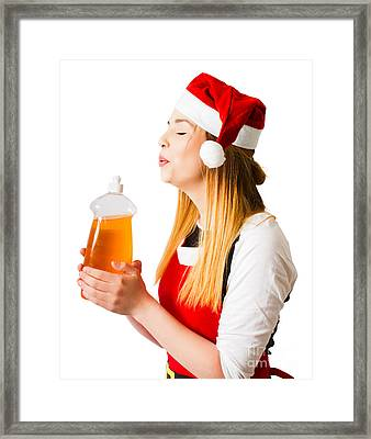 Christmas Cleaner Blowing Away Housework Chores Framed Print