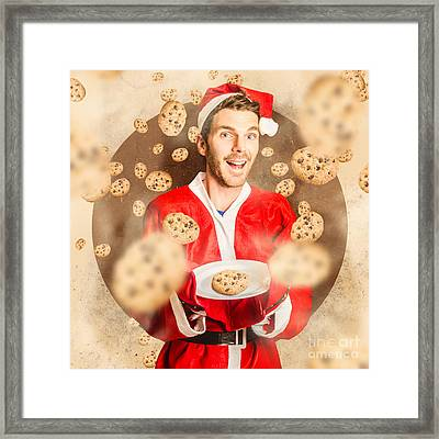 Christmas Cooking Elf With Cookies Treats Framed Print