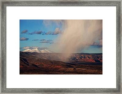 Framed Print featuring the photograph Christmas Day Snow Mix San Francisco Peaks by Ron Chilston