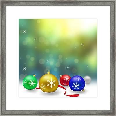 Christmas Decoration With Snow And Bokeh Framed Print by Miroslav Nemecek
