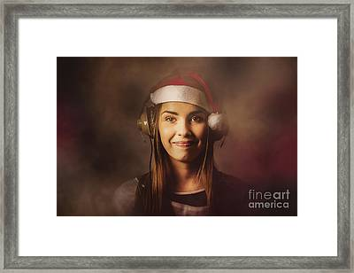 Framed Print featuring the photograph Christmas Disco Dj Woman by Jorgo Photography - Wall Art Gallery
