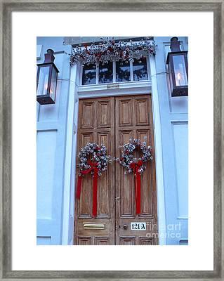 Christmas Door Framed Print by Jeanne  Woods