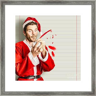 Christmas Elf Letter Writing A Holiday Message Framed Print