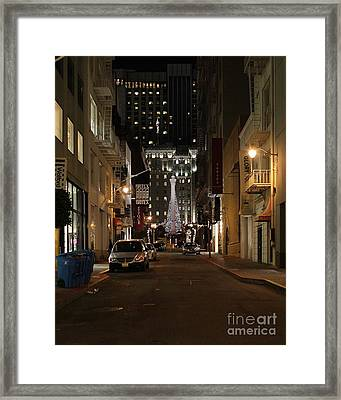 Christmas Eve 2009 On Maiden Lane Framed Print by Wingsdomain Art and Photography