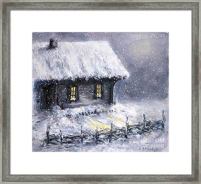 Framed Print featuring the painting Christmas Eve by Arturas Slapsys