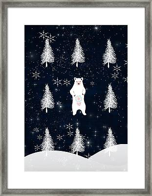 Christmas Eve Bear Framed Print by Amanda Lakey