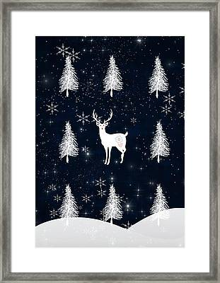 Christmas Eve - White Stag Framed Print