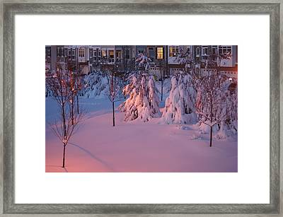 Christmas Evening Snow Framed Print by Heidi Poulin