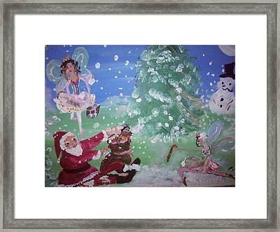 Framed Print featuring the painting Christmas Fairies by Judith Desrosiers