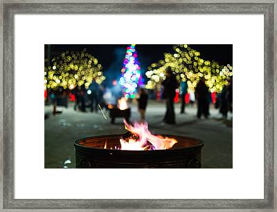 Christmas Fire Pit Framed Print