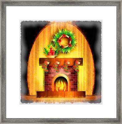 Christmas Fireplace Framed Print by Esoterica Art Agency