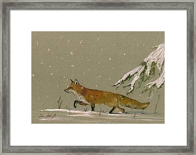 Christmas Fox Snow Framed Print by Juan  Bosco