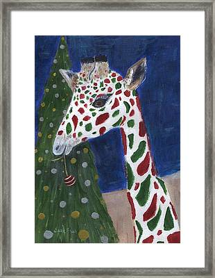 Framed Print featuring the painting Christmas Giraffe by Jamie Frier