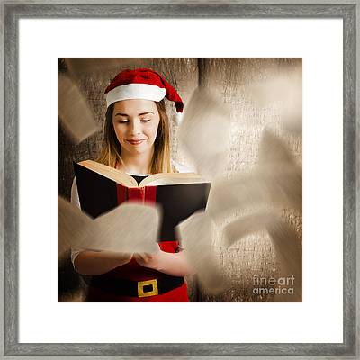 Christmas Girl Reading Open Story Book Framed Print by Jorgo Photography - Wall Art Gallery