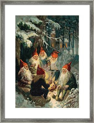 Christmas Gnomes Framed Print by English School