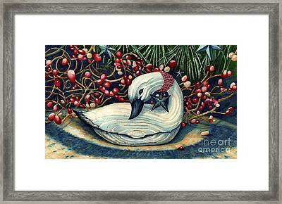 Christmas Goose Framed Print by Janine Riley